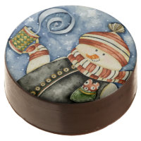 Heart Warming Snowman Chocolate Dipped Oreos