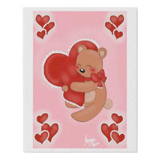 Heart Warming Teddybear Faux Canvas Print