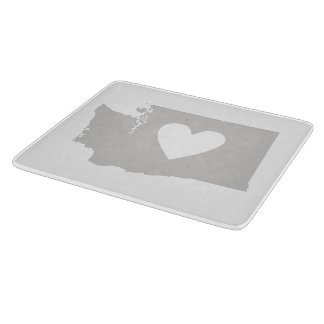 Heart Washington state silhouette Cutting Boards