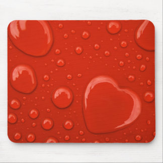 heart water drop on red background mouse pad