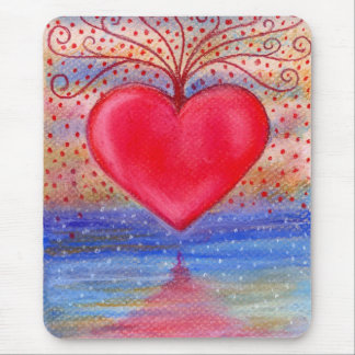 Heart Water Reflection Mouse Pad