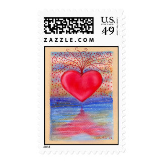 Heart Water Reflection Postage Stamps