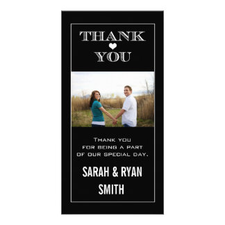 Heart Wedding Black & White Thank You Photo Cards