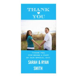 Heart Wedding Blue Thank You Photo Cards