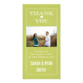 Heart Wedding Green Thank You Photo Cards