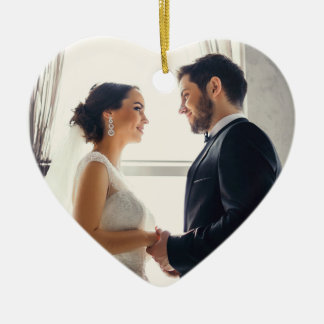 Heart Wedding Photo Keepsake Ornament