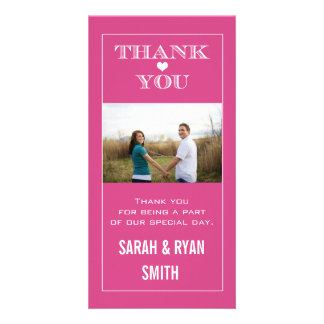 Heart Wedding Pink Thank You Photo Cards