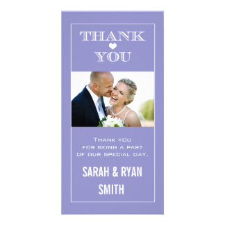 Heart Wedding Purple Thank You Photo Cards