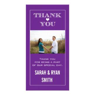 Heart Wedding Purple Thank You Photo Cards