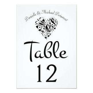 Heart Wedding Reception Table Number Card