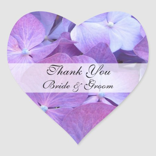 Heart Wedding Thank You Sticker - Hydrangea