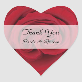 Heart Wedding Thank You Stickers -- Red Rose