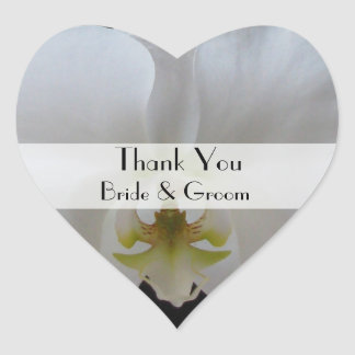 Heart Wedding Thank You Stickers --  White Orchid
