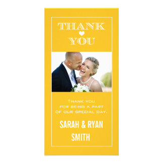 Heart Wedding Yellow Thank You Photo Cards