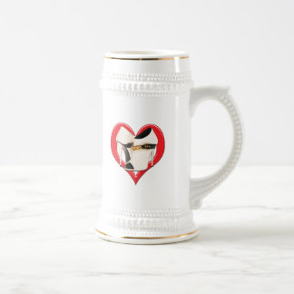 Heart White Leather Boots with Gold Chain Beer Stein