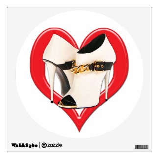 Heart White Leather Boots with Gold Chain Wall Decal