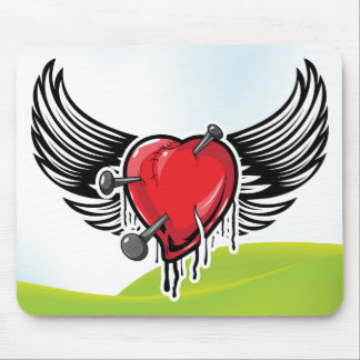 Heart ~ Winged Flying Heart Wings Mouse Pad