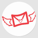 heart wings classic round sticker