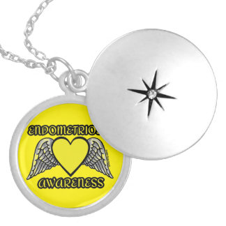 Heart/Wings...Endometriosis Silver Plated Necklace
