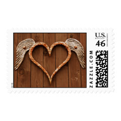 Heart Wings Metal Wall Art Rustic Wood Postage Stamps