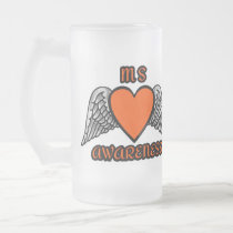 Heart/Wings...MS Frosted Glass Beer Mug