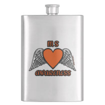 Heart/Wings...MS Hip Flask