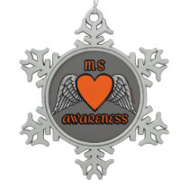 Heart/Wings...MS Snowflake Pewter Christmas Ornament