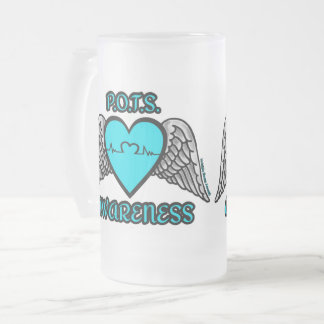 Heart/Wings...P.O.T.S. Frosted Glass Beer Mug