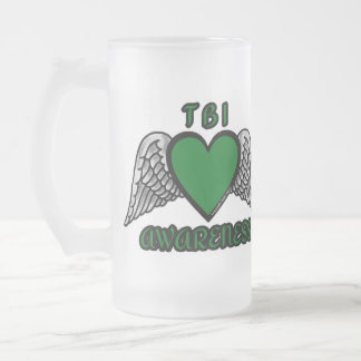 Heart/Wings...TBI Frosted Glass Beer Mug