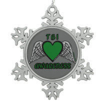 Heart/Wings...TBI Snowflake Pewter Christmas Ornament