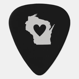 Heart Wisconsin state silhouette Guitar Pick