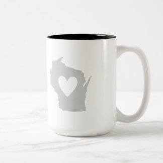 Heart Wisconsin state silhouette Two-Tone Coffee Mug