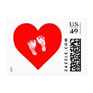 """""""HEART WITH BABY FEET"""" POSTAGE STAMP"""