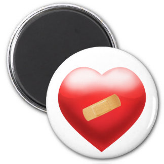Heart with BandAid 2 Inch Round Magnet