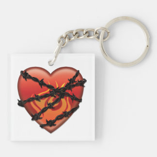 Heart with Barbed Wire Double-Sided Keychain