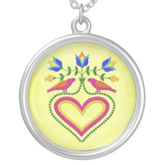 Heart with birds n flowers pendant