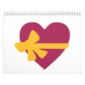 Heart with bow wall calendars