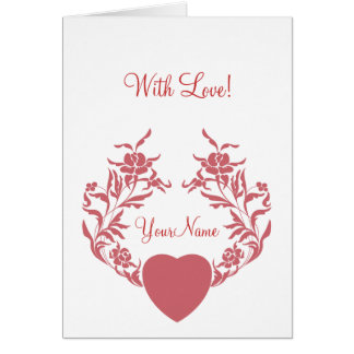 Heart with branches of flowers card
