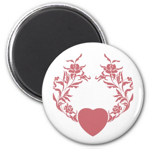 Heart with branches of flowers magnets