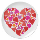 Heart with colorful heart pattern party plate