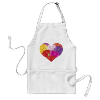 Heart with Colorful Roses Apron
