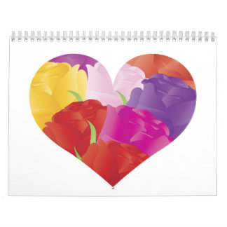 Heart with Colorful Roses Calendar