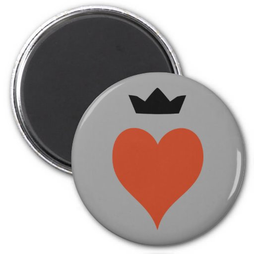 Heart with Crown 2 Inch Round Magnet