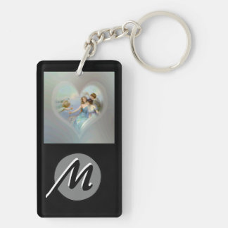 Heart with Cupid and Ladies Keychain