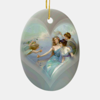 Heart with Cupid and Ladies Double-Sided Oval Ceramic Christmas Ornament