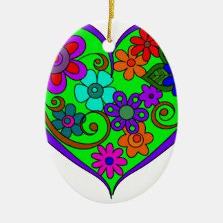Heart with designs ceramic ornament