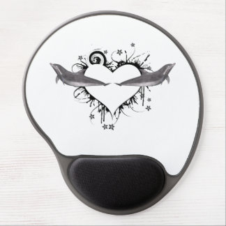 Heart with Dolphins black Gel Mouse Pad