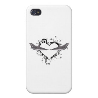 Heart with Dolphins black iPhone 4/4S Case