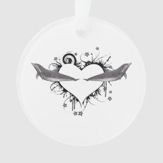Heart with Dolphins black Ornament