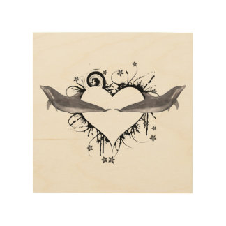 Heart with Dolphins black Wood Print